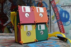 Recycled Floppy Disk Bags orang, gadgets, lunch boxes, bag lunches, fashion accessories, floppi disk, purses, bags, geek chic