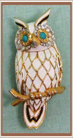 Large Rhinestone and Enamel Jomaz Owl Pin