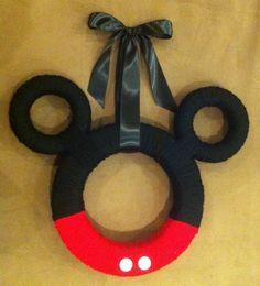 Mickey Mouse Ears Yarn Wreath.