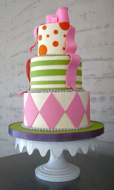 Dots, Stripes & Diamonds Colorful Cake