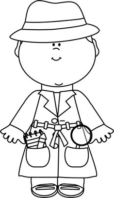 Black and White Detective Clip Art - Black and White Detective Image