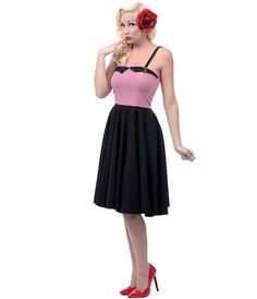 Red, White & Black Cherry Retro Style Dress- Unique Vintage