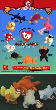 meals, beanie babies, mcdonald toys 90s, 90s mcdonalds toys, happi meal, toys from the 90s, beani babi, 90's happy meal toys, toys of the 90s