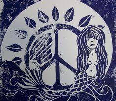 In the Deep Purple Sea, Singleton Hippie Art, Original  Mermaid linocut print