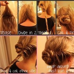 Easy updo! easi, makeup, hair do, coil bun, beauti, hairstyl, hair style, twist bun, hair idea