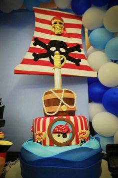 Awesome cake at a Pirates Birthday Party!  See more party ideas at CatchMyParty.com!