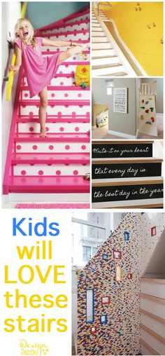 Kids will love these stairs. Ideas and inspiration to create cool stairs for kids! Design Dazzle #kidsstairs