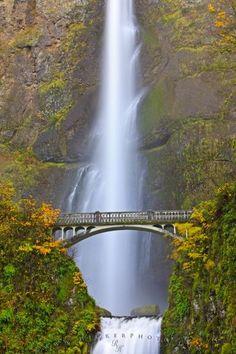 The Multnomah Falls and benson Bridge in fall season, Columbia River Gorge, Oregon, USA