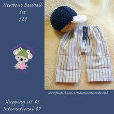 Hey, I found this really awesome Etsy listing at http://www.etsy.com/listing/128297395/newborn-baseball-set