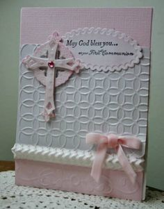 communion handmad, diy crafts, pastel pink, baptisms, first communion cards, cross card, craft ideas, paper crafts, baptism cards