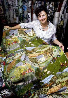 vintage Grandma Moses fabric