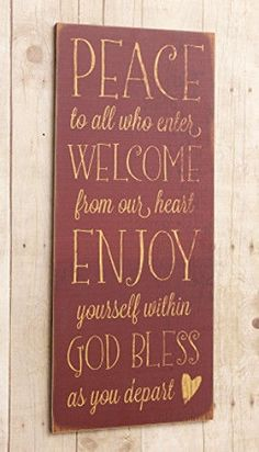 Country Primitive Heart PEACE WELCOME GOD BLESS Wood Sign Wall Plaque Picture