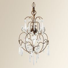 """Lydia Chandelier (shown with several small Chandeliers hung together.  10""""W X 18""""H"""