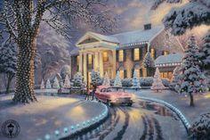 thoma kinkad, winter, christmas art, elvi, thoma kincad