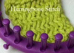 Loom Knit Herringbone Stitch Cast on, stitch and Bind off