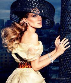 Sarah Jessica Parker in honey comb mesh dress and hat form Alexander McQueen 2013.