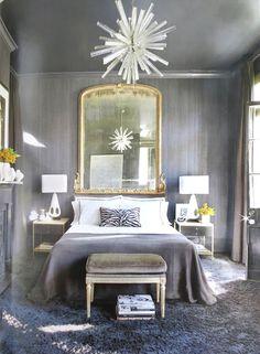 gray bedroom crystal modern chandelier. #house #home #decor #interiors #bedroom #mirror