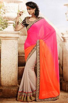Glamorous Cream, Orange and Deep Pink Saree