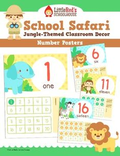 Jungle Theme Number Posters 1-20 - Classroom Decor $