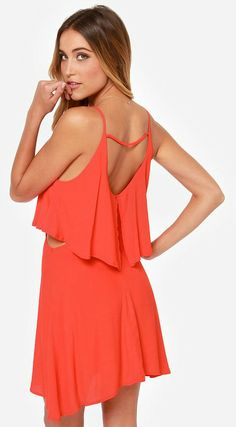 Cutout Coral Red Dress