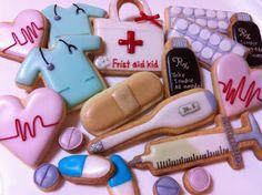 Doctor and nurse cookies, graduation, celebration, party ideas.