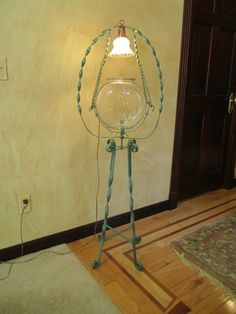 Antique Victorian Wrought Iron Lrg FISH BOWL STAND FLOOR LAMP