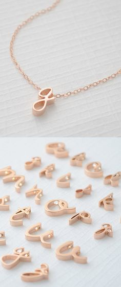 Lower Case Initial Necklace in Rose Gold | http://uncovet.com/designer-spotlight/olive-yew/rose-gold-lowercase-letter-necklace?via=HardPin=type56
