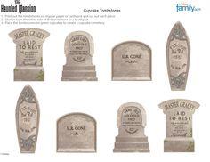 DIY: Haunted Mansion Cupcake Tombstones   Disney Halloween Printables   Disney   Disney Family.com