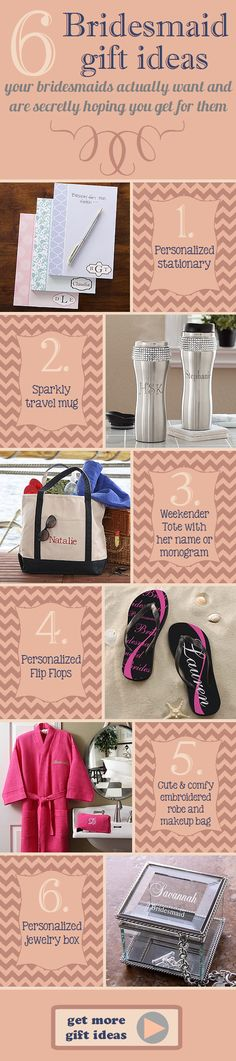 6 Bridesmaid Gift Ideas that your bridesmaids actually want and are secretly hoping you get for them! This site has tons of other great wedding gift ideas, too