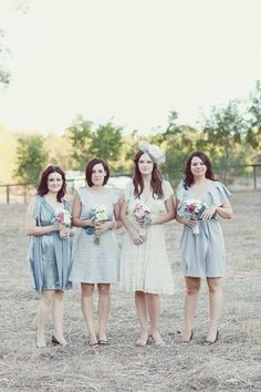 bridesmaids in pastel, photo by Anna Rose Photography http://ruffledblog.com/intimate-australian-wedding #bridesmaiddress #bridesmaidsdresses
