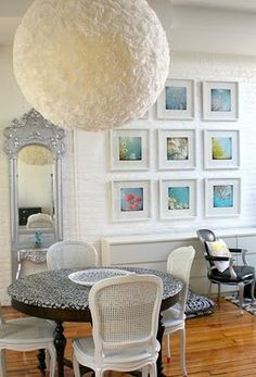 This puffball light piece was made with a paper lantern covered in coffee filters. PEOPLE ARE SO CREATIVE. decor, craft, paper lantern ideas, coffee cans diy, papers, light, lanterns, coffee filters, coffe filter