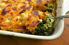 Butternut Squash Gratin with Spinach and Field Greens