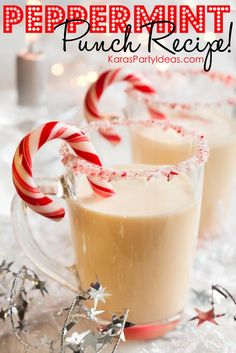 EASY peppermint punch recipe for the Christmas holidays! Via Kara's Party Ideas - THE place for all things party! KarasPartyIdeas.com #holidaypartyideas #peppermintpunch #christmaspartyideas #blogherholidays