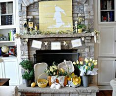 Dress your mantel in Easter finery with birdhouses, candlesticks & art on reclaimed wood.