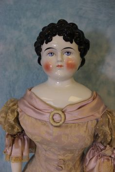 """30"""" Antique China Head Doll Late 1850's Beautiful Gown, Corset,  Molded Boots"""