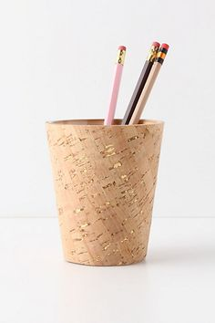cork cup with gold flecks