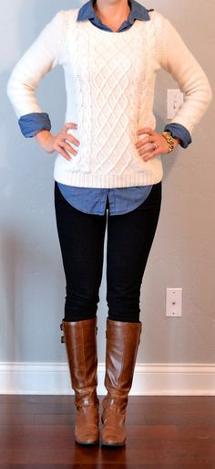Top: Chambray shirt - Old Navy   Cream cable knit sweater - H  Bottom: Black skinny jeans - Target  Shoes: Brown riding boots - Macys    Accessories: Gold link watch - Michael Kors