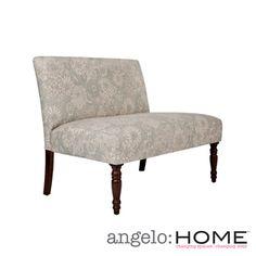 Overstock.com -angelo:HOME Bradstreet Vintage Sea Foam Blue Floral Upholstered Armless Settee