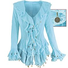 Blue Crinkle Blouse  pyramidcollection.com