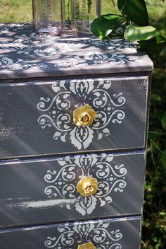 damask. Beautifully repainted dresser.
