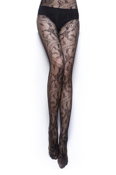 Opaque Flower Hollow Black Tights [AO0293] - $12.99 : - StyleSays