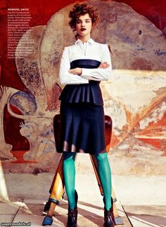 Natalia Vodianova in 'Modern Times' - Photographed by Craig McDean (Vogue US May 2012) michael fassbender, editorial, craig mcdean, natalia vodianova, fashion editori, modern time, grace coddington, tight, vogue magazine