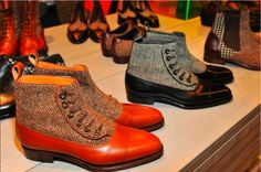 Perfetto leather and tweed boots
