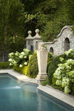 swimming pools, water features, fountain, stone walls, pool designs, hydrangea, backyard, garden, design studios