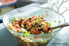 Black Bean Salad with Corn, Red Peppers, Avocado & Lime-Cilantro Vinaigrette - recipe from the 24th most popular pin on Pinterest