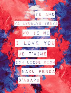 I Love You in Different Languages Art Print