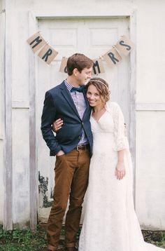 Mr and Mrs sign, photo by Colagrossi Studios http://ruffledblog.com/winona-lake-elopement #weddingideas #signs