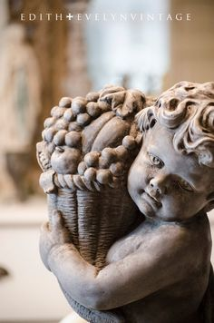 Vintage Stone Cherub Statue Harvest Large and by edithandevelyn