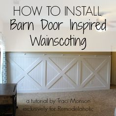 How to Install Barn Door Style Wainscoting | Remodelaholic.com #barndoor #wainscoting #walltreatment @Remodelaholic