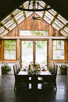 Glass ceiling with exposed beams